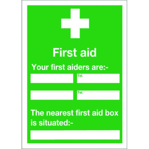 SIGNSLAB SIGN FIRST AID AND YOUR 600X450MM S/A [SR71230]